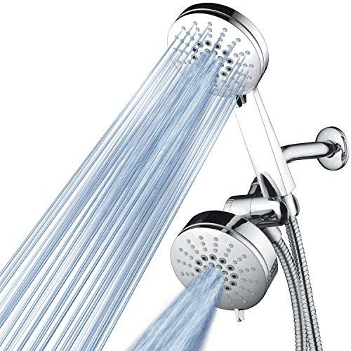 AirJet-500 3-in-1 High Pressure 34-setting Luxury Shower Combo with High-Velocity Flow Accelerator(TM) for More Power with Less Water!Extra-long 6 foot Stainless Steel Hose. All-Chrome Finish ()