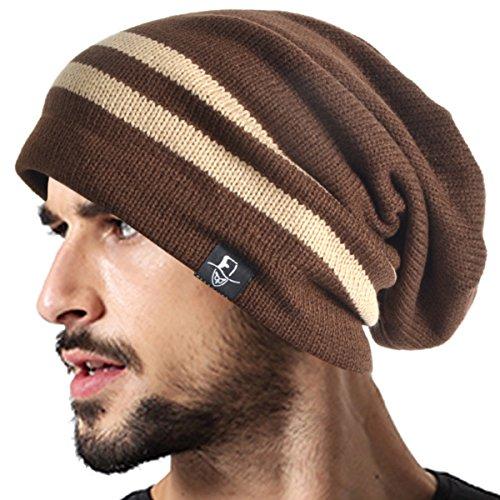 VECRY Men's Cool Cotton Beanie Slouch Skull Cap Long Baggy Hip-hop Winter Summer Hat B305 (Cotton Long Beanie)
