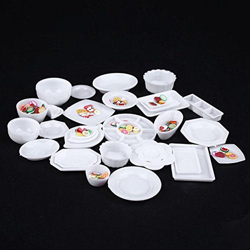 LVOERTUIG 33pcs/Set Dollhouse Decoration Mini Tableware Plastic Plate Dishes Kitchen Set for Miniature Food Fairy Garden Dollhouse Decor(White)
