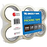 Grizzly Brand Clear Packing Tape Refill Rolls for Shipping, Moving Packaging - True 2 Inch x 65 Yards, 2.8mil Thick, 6 Rolls