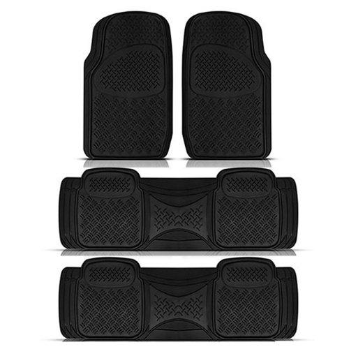 New Semi Custom Heavy Dutty Black 4pc Front & Rear Rubber Mats For Car Van Trucks Suvs Set Universal