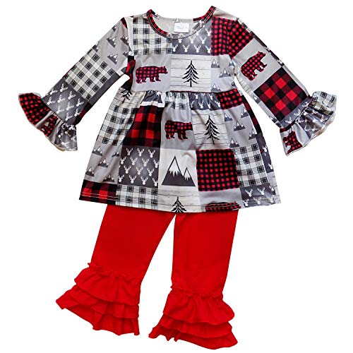 So Sydney Toddler 2 Pc Christmas Ruffle Pant Tunic Top Holiday Girls Boutique Clothing Outfit (3T (S), Buffalo Plaid Patch Red) -