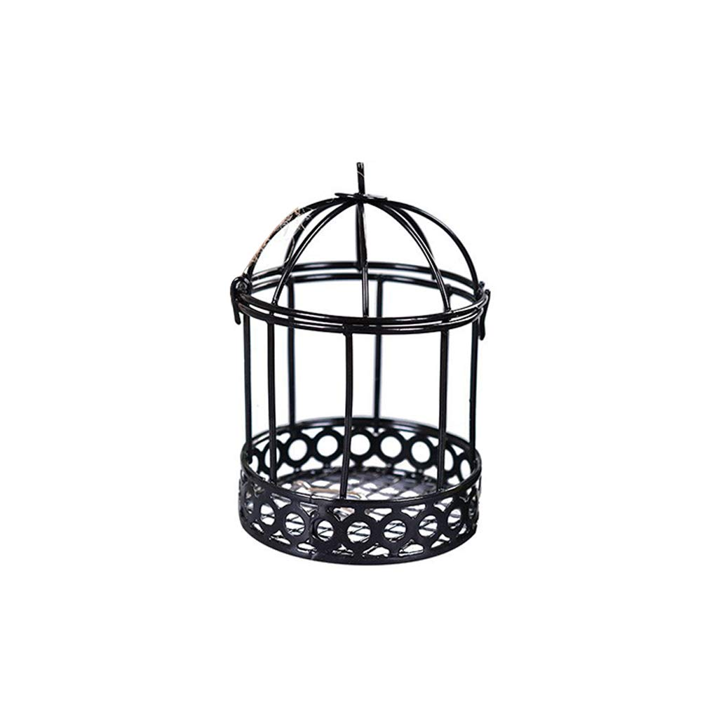 Hallow Birdcage Decor Round Metal Candle Holder Garden Lawn Hanging Candlestick Lantern Miniature Fairy Garden Ornaments for Home Wedding & Party Decoration - Black Rocita