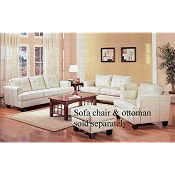 2pc Sofa U0026 Loveseat Set With Wooden Legs Contemporary White Cream Leather