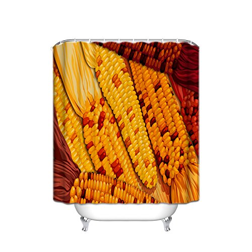 ATOLY Crystal Emoji Thanksgiving Theme Home Decor Shower Curtain, Animated Style Corn Harvest Image, Waterproof Polyester Fabric Decorative Bathroom Shower Curtain, Yellow red, 54x78 inches]()