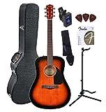 Fender CD-60 Dreadnought Acoustic Guitar Bundle with Hardshell Case, Guitar Stand, Tuner, Strap, Picks, Strings - Sunburst