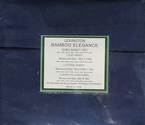 Blue Bamboo Tree (Lexington Bamboo Elegance 2200 Series 18 inch Deep Pocket 6 PC Bed Sheet Sets All Sizes (Navy, Queen))