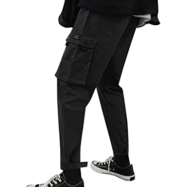 5368a7ee04 FRCOLT Men's New Pure Colored Loose Multi-Pocket Workwear Loose Pants  Trousers at Amazon Men's Clothing store: