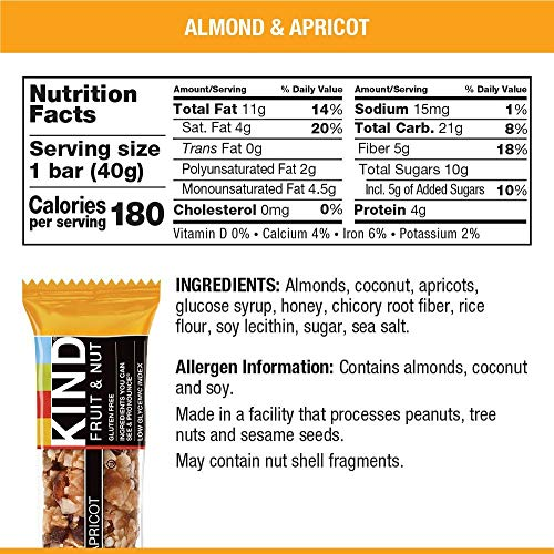 KIND Bars, Almond & Apricot, Gluten Free, Low Sugar, 1.4oz, 12 Count by KIND (Image #4)