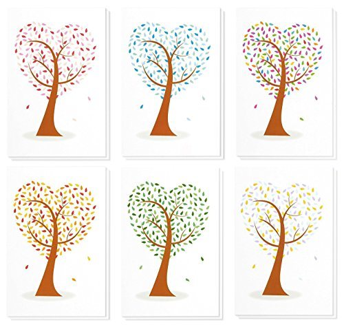 48 Pack All Occasion Assorted Blank Note Cards Greeting Cards Bulk Box Set - 6 Colorful Heart Shaped Tree Designs - Blank on the Inside Notecards with Envelopes Included - 4 x 6 Inches (Decorative Cards)