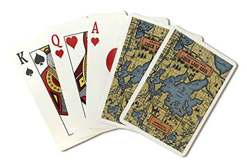 Detailed Map - Greetings From Leech Lake Area, Minnesota (Playing Card Deck - 52 Card Poker Size with Jokers) by Lantern Press