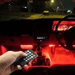 Car LED Strip Lights, Top Notch 4 Pieces Multi-Color Car RGB LED Light Strip Under Dash Lighting Kit Music Car Interior Decorative Accent Lights w/ Sound Active Function Remote Control, DC 12V