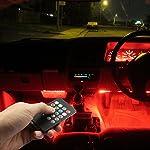 Car LED Strip Lights, Top Notch 4 Pieces Multi-Color Car RGB LED Light Strip Under Dash Lighting Kit Music Car Interior Decorative Accent Lights w/ Sound Active Function Remote Control, DC 12V