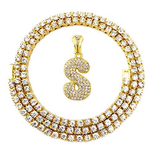 Out Hip Hop Gold Faux Diamond Bubble Dripping Letter Tennis Chain Necklace 20 Inch (Bubble Letter S) ()