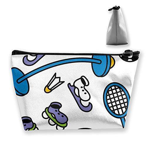 Cosmetic Toiletries Travel Bag Badminton Soccer Sports Equipment Clipart Make Up Train Case Storage Bags Accessories Portable Organizer Pen Pencil Power Lines Pouch