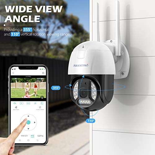 CCTV Camera Wireless Outdoor with Color Night Vision, AIBOOSTPRO 1536P Ultra HD Security Camera Pan/Tilt Dome Wifi Camera Two-Way Talk Surveillance Camera Motion Tracking Ip camera Built-in 32Gb Card