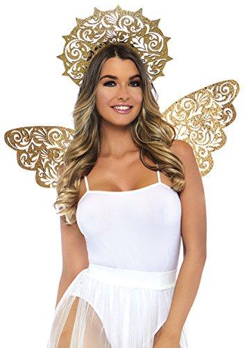 Leg Avenue Women's 2 PC Golden Angel Accessories, Gold, O/S