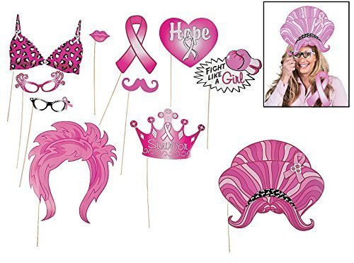 (Pink Ribbon Photo Stick Props (12 Pcs) 3 1/4