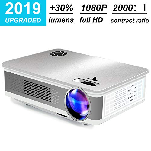 Home Theater Projector,HDEYE Native 1080p Full HD LED Video Projector – Up to 165 Inch Size Big Screen,3000 Lumens,Compatible with Fire TV Roku Sticks,USB,DVD,SD,PS4,Laptop (Silver)