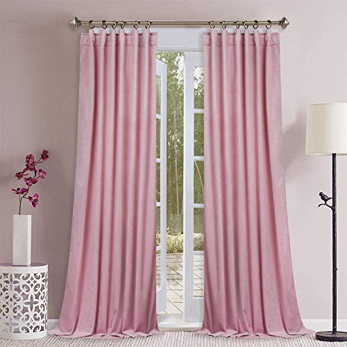 (StangH Girls Bedroom Velvet Curtains - Romantic Soft Smooth Velvet Drapes Sunlight Dimming Privacy Protect Panels for Infant Room/Princess Room, Pink, 52