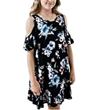 KIDVOVOU Girls Casual Cold Shoulder Ruffle Sleeves Tunic Swing Dresses Size 4-13,Floral Black,10-11years