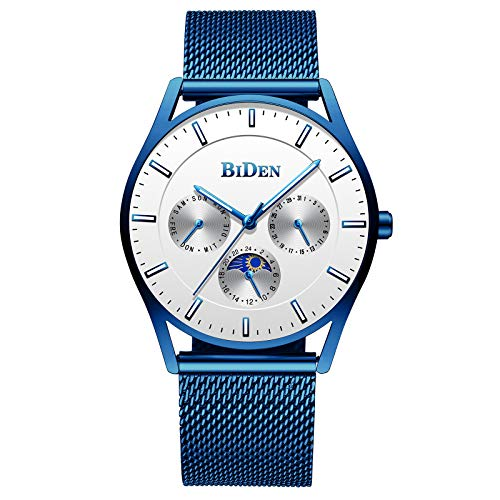 Mens Watch Fashion Ultra Thin Luxury Business Wrist Watches Calendar Date Waterproof Stainless Steel Simple Designer Dress Watch - Blue White