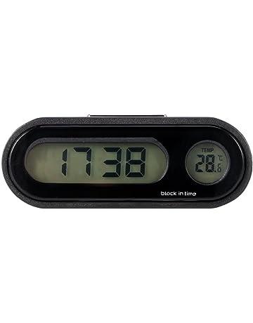 Konesky - Reloj Digital 2 en 1 para Coche con indicador de Temperatura Universal con retroiluminación