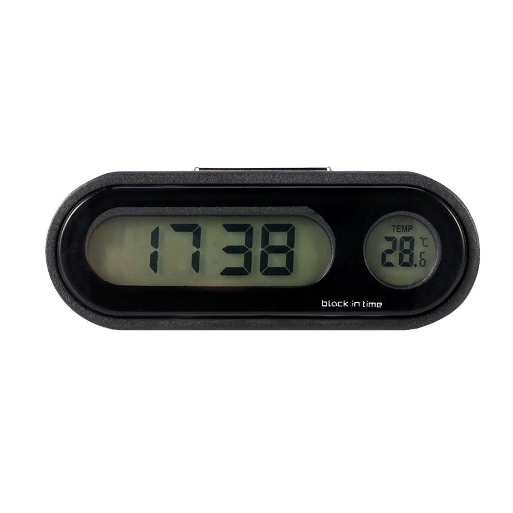 Konesky Horloge De Voiture Universel De Voiture Tableau De Bord Horloge Air Vent Guidon /À Quartz Horloge Temp/érature Jauge Horloge Stick-on avec Affichage De Nuit et /Écran LCD