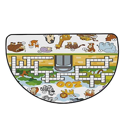 Word Search Puzzle Comfortable Semicircle Mat,Zoo Themed Education Game with Different Animals Numbers and Words Print Decorative for Living Room,35.4