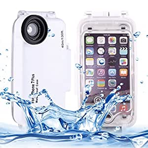 For iPhone 5.5 inch Case, For iPhone 7 Plus 40m Waterproof Diving Housing PC + ABS Protective Case (5.5 inches) ( Color : White )