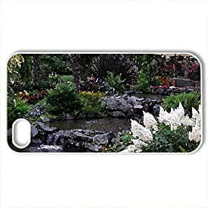 Beautiful Garden - Case Cover for iPhone 4 and 4s (Flowers Series, Watercolor style, White)