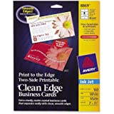 Two-Side Printable Clean Edge Business Cards, Inkjet, 2 x 3-1/2, White, 160/Box