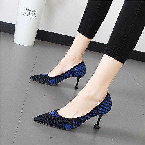 zapatos punta tacón los singles femeninos de de Luz de punto fino azul moda conmutar mujer zapatos Qiqi alto zapatos de zapatos El Xue de mañana satén con de tvORSngq