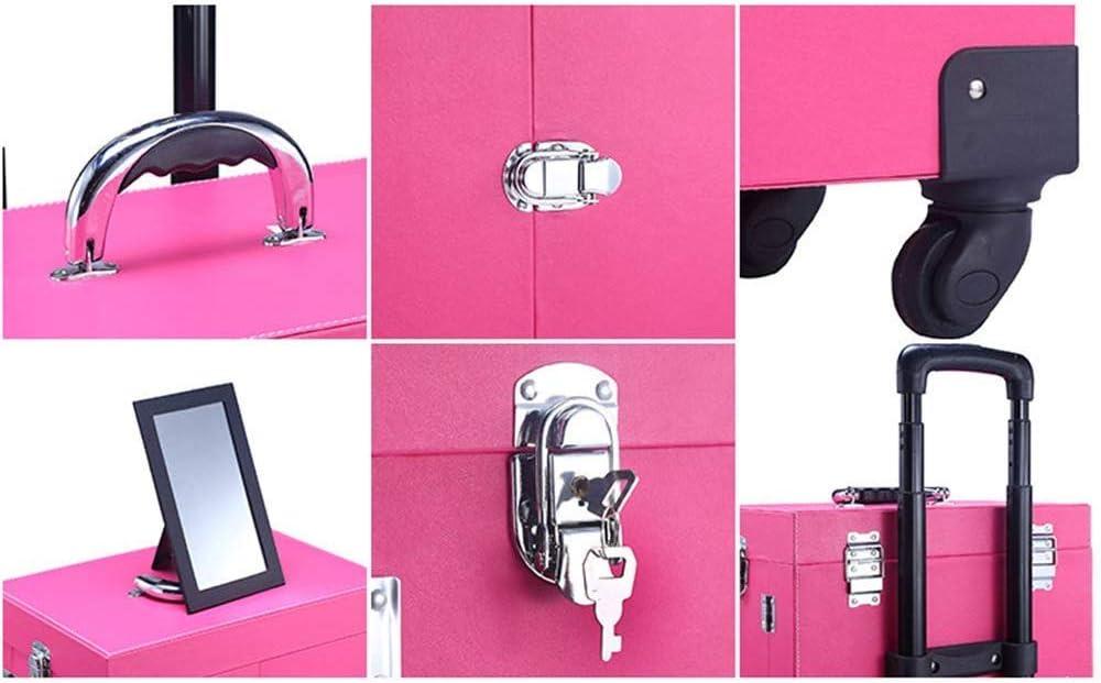ALYR プロローリング化粧ケース、化粧トレインケース トロリートレインケースメイク荷物ミラー・ロックと車輪付き メイクアップアーティストボックス,Pink