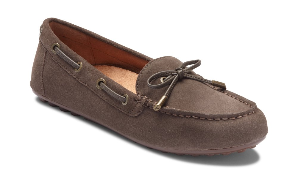 Vionic Women's Honor Virginia Loafer - Ladies Moccasin with Concealed Orthotic Arch Support Greige Suede 9 W US