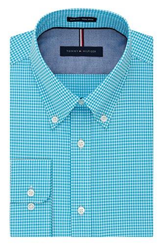 Tommy Hilfiger Men's Non Iron Slim Fit Gingham Buttondown Collar Dress Shirt, Aqua, 18