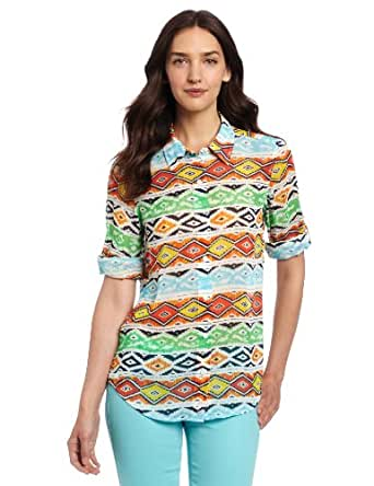 Jones New York Women's Roll Sleeve Equipment Shirt, Sky Blue Multi, X-Large