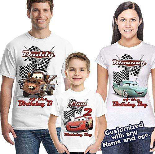 Lightning McQueen Cars Personalized Birthday Shirt - Custom Party -