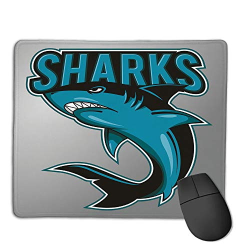 Cymbals Big Fish - Mouse Pad Custom,Non-Slip Rubber Mousepad,Shark,Angry Danger Fish Fins Aggressive Sea Creature Monster Life Illustration Decorative,Petrol Blue Black Grey,for Laptop, Computer, PC, Keyboard,H9.8XW11