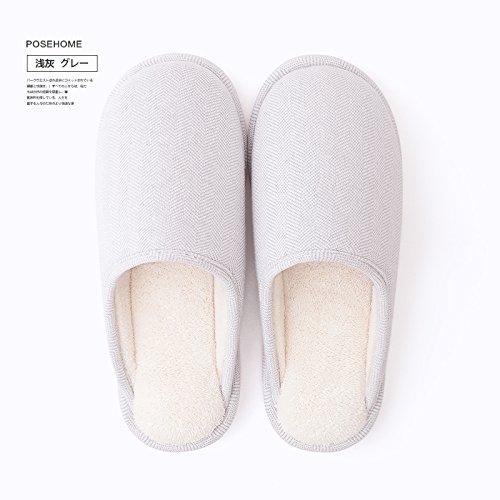 DogHaccd Zapatillas,Zapatillas de algodón de invierno femenina parejas home Zapatos callen cálido interior estancia piso antideslizante zapatillas macho La luz gris4