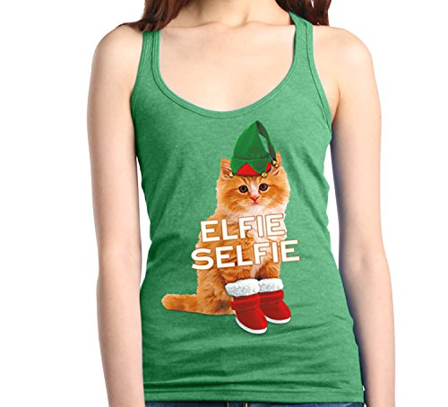 Shop4Ever Elfie Selfie Kitty Cat Women's Racerback Tank Top Christmas Tank Tops X-Large Heather Kelly Green 19615