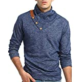 Faionny Mens Autumn Winter Blouse Slim Fit Sweatshirt Casual Tops Long-Sleeved T-Shirt