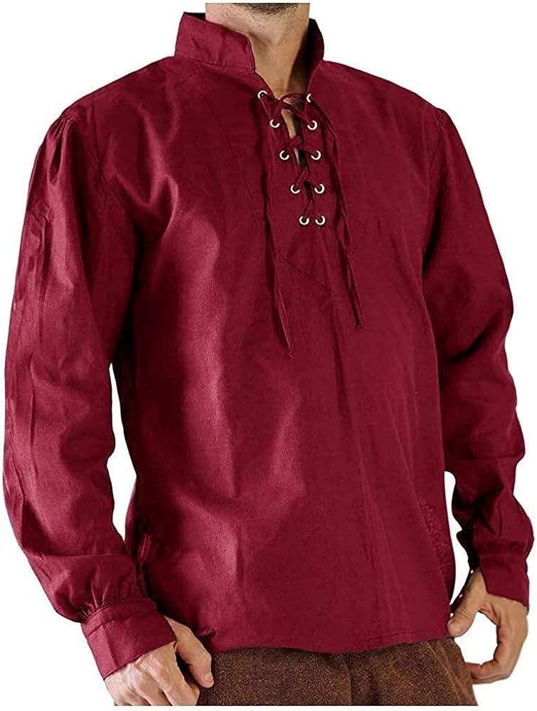 Ericcay Camisa Del Traje Camisa De Los Hombre Camisa Gótica Medieval Hombre Schnürhemd Fisher Ideal Cosplay Con Ropa De Textura Para Juego De Tronos