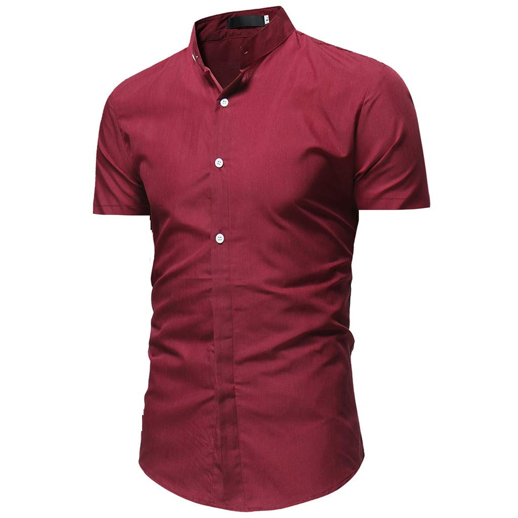8a698422898 Pandaie Mens Blouse Shirts Men s Solid Casual Button Down Short Sleeve  Shirt Top Blouse at Amazon Men s Clothing store