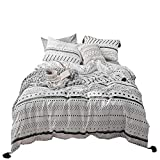 VClife Cotton Twin Bedding Sets Modern Kids Duvet Cover Sets - Herringbone Geometric Pattern Bedding Comforter Cover with Corner Ties - 200 Thread Count Bedding Collections for All Seasons, Twin