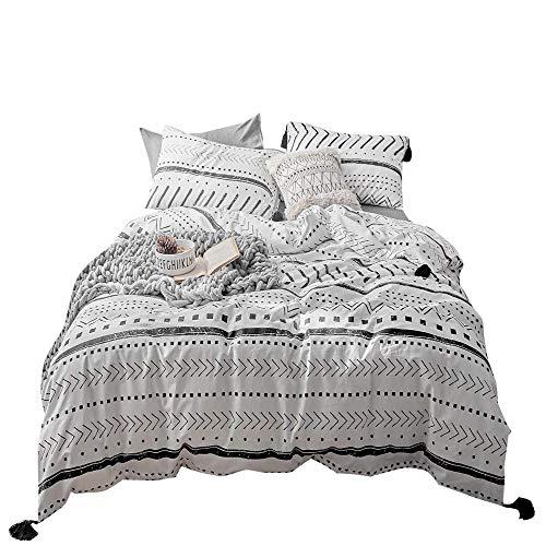 VClife Cotton Twin Bedding Set Kids Duvet Cover Sets - White Black Herringbone Stripe Geometric Pattern Bedding Comforter Cover with Corner Ties Soft Twin 1 Duvet Cover 2 Pillowcases for Boy Girl