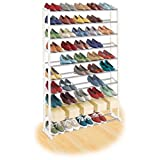10 Tier Shelf Commercial Chrome Steel Construction 50 Pair Shoe Rack Organizer