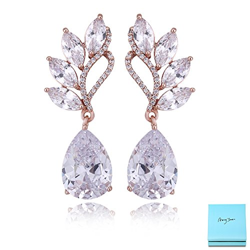 Crystal Rose Gold Dangle Earrings - Angel Wing Sterling Silver Teardrop Cubic Zirconia Rhinestone Wedding Bridal Earrings for Party Prom Anniversary Valentine's Day - Rose Tiffany Gold