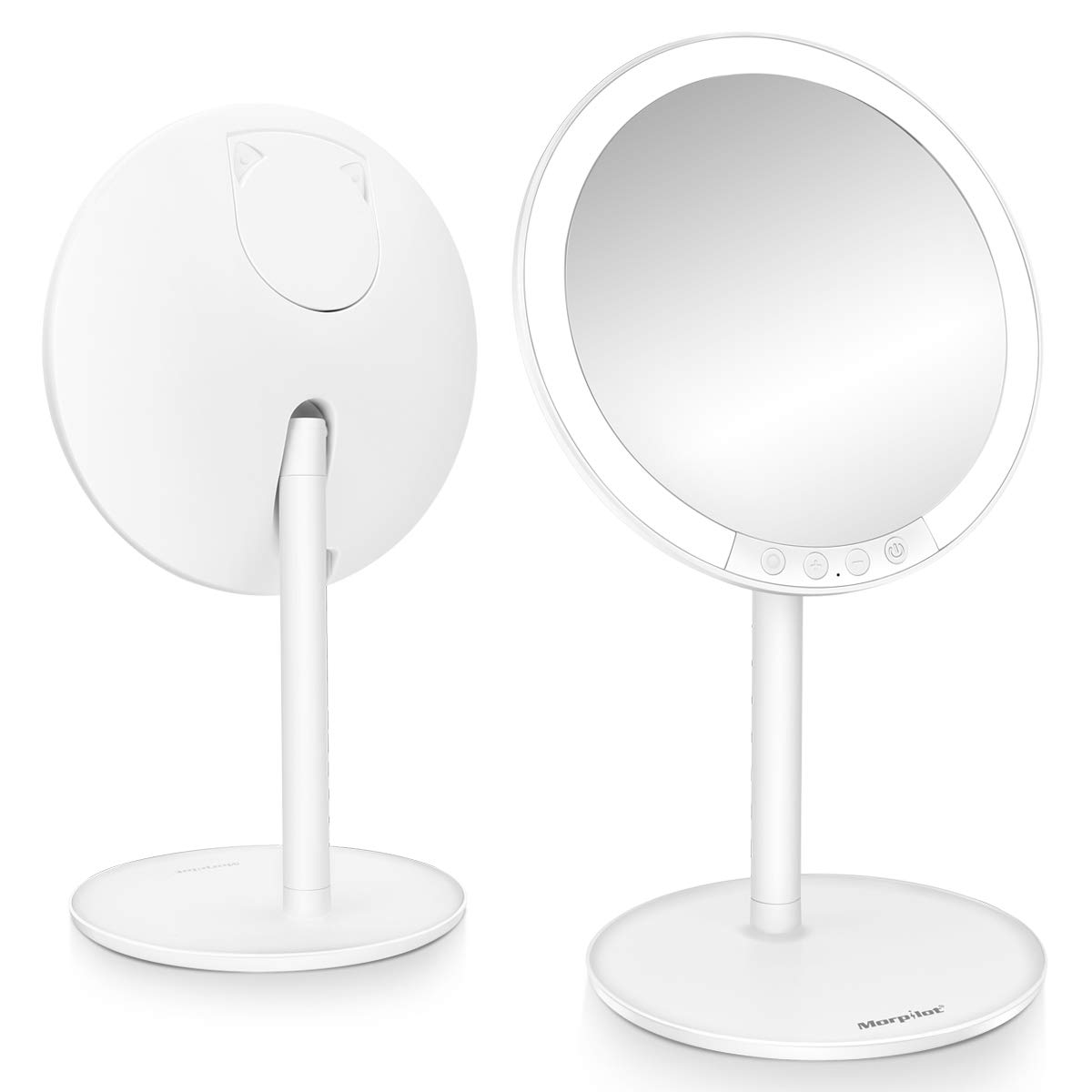Lighted Makeup Mirror, Morpilot 7.8 1X Vanity LED Mirror with 3 Color Modes 7-Level Adjustable Brightness, 120 Degree Rotation, USB Rechargeable with Small 7X Magnifying Mirror for Cosmetic