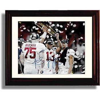Framed Alabama Quarterback Tua Tagovailoa - National Championship Trophy -  Autograph Replica Print b1867bd18